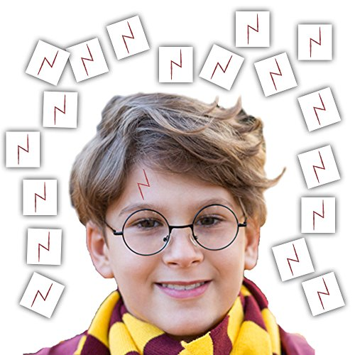 Wizard Party Favors for 16 - Includes Broom Pens, Wands, Glasses, and Lightning Scar Tattoos - Perfect for a Wizard School Theme Birthday Party (16 of each) by HeroFiber (Image #1)