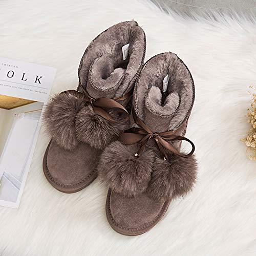 Shukun Damen Schneestiefel Winter Schnee Stiefel weibliche Pu-Schlauch Plus Baumwolle Dicke warme Student Schuhe Baumwolle Stiefeletten
