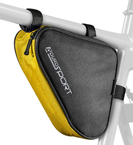 Sport Saddle Bicycle (Aduro Sport Bicycle Bike Storage Bag Triangle Saddle Frame Strap-On Pouch for Cycling (Yellow))