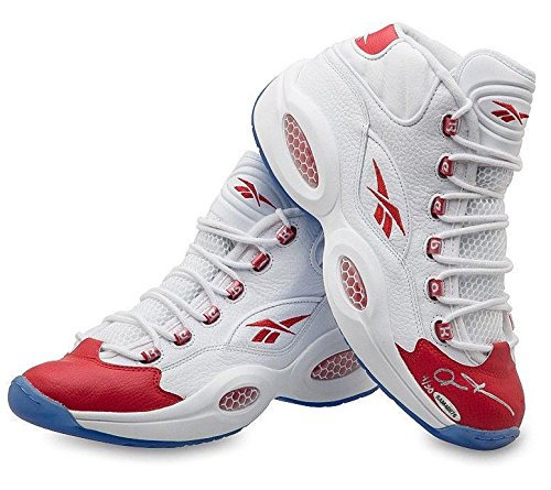 ALLEN IVERSON Autographed Red Toe Question Mid Shoes LE 30 – Upper Deck Certified – Autographed NBA Sneakers
