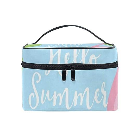 1abbc30400e7 Amazon.com : Cosmetic Bag Hello Summer Flamingo Womens Makeup ...
