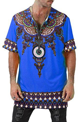De Manga Tops Camiseta African Corta Azul Floral Hop Dashiki Hip Tribal Hombre dqqRp