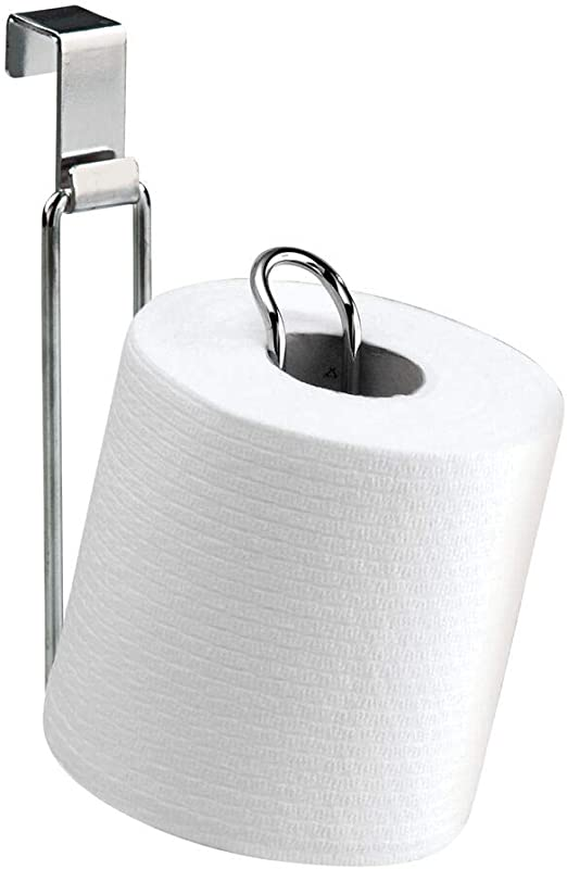 Amazon Com Mdesign Metal Over The Tank Toilet Tissue Paper Roll Holder Dispenser And Reserve For Bathroom Storage And Organization Hanging Holds 1 Roll Chrome Home Kitchen