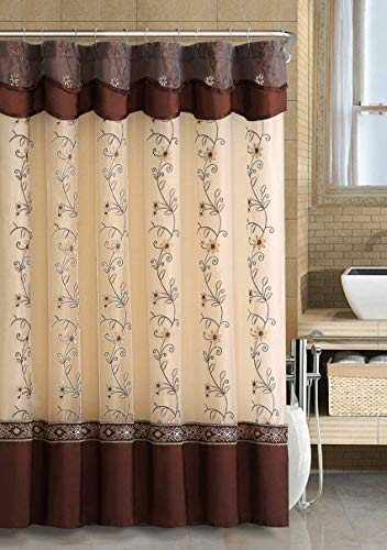 (GoodGram VCNY Luxurious Daphne Embroidered Sheer & Taffeta Fabric Shower Curtains by Assorted Colors (Chocolate))