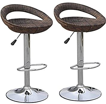 HOMCOM Vintage Adjustable Open Back Rattan Bucket Seat Patio Bar Stool – Set of 2