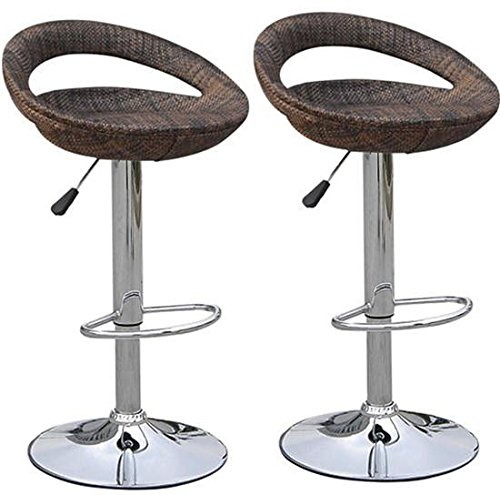 HomCom Vintage Adjustable Open Back Rattan Bucket Seat Patio Bar Stool - Set of 2