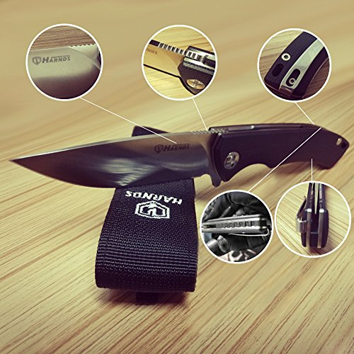 Harnds-Folding-Pocket-Knife-Ceramic-Ball-Bearing-Fast-Opening-and-Japanese-AUS-8-Steel-36-Blade