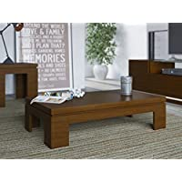 Manhattan Comfort Bridge Coffee Table and End Table Set in Nut Brown