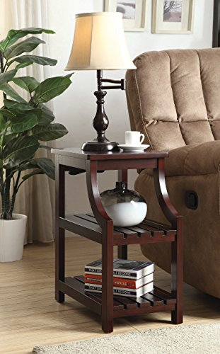 Cappuccino Finish Wooden Chair Side End Table 3-tier Shelf with USB ports