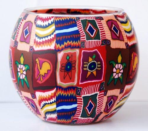 Leuchtglas mit Teelicht Motiv 12 Inka-Muster//11cm
