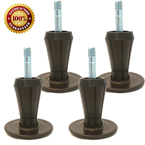 Home Paradise BG-01 Steel Stem Plastic Feet | Sturdy Legs Protect Your Floor by Changing Wheels with These Bed Frame Glide | Dark Brown | Set of 4
