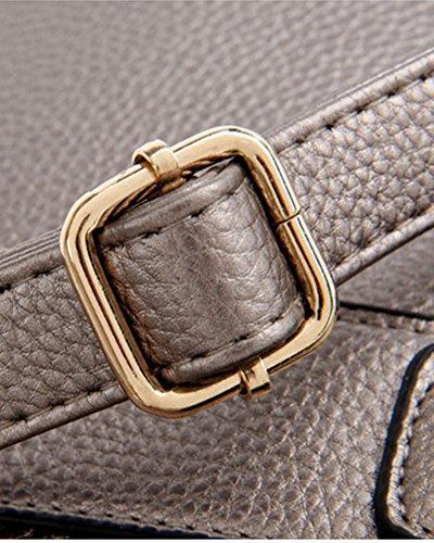 Mujer Bolso PU Cuero Saco De Mano Bolso Del Mensagero De Hombro Azul Dorado