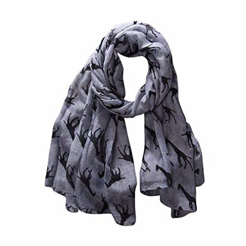 Clearance,Yang-Yi Women Scarf Automn Giraffe Print Pattern Long Scarf Warm Wrap Shawl (Gray, one size)