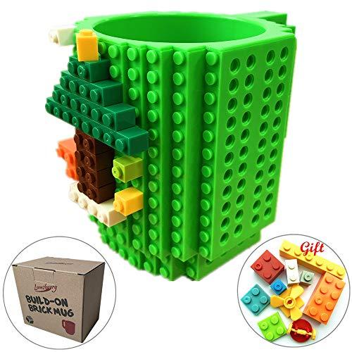 Build-on Brick Coffee Mug, Funny DIY Novelty Cup with Building Blocks Creative Gift for Kids Men Women Xmas Birthday (Green)