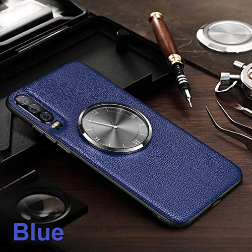 FAIRYCASE Watch Galaxy S10 Plus Case Leather Texture Ultra-Thin Multifunction Hard Back Protective Cover Clock Case for Samsung Galaxy S10 Plus,Blue