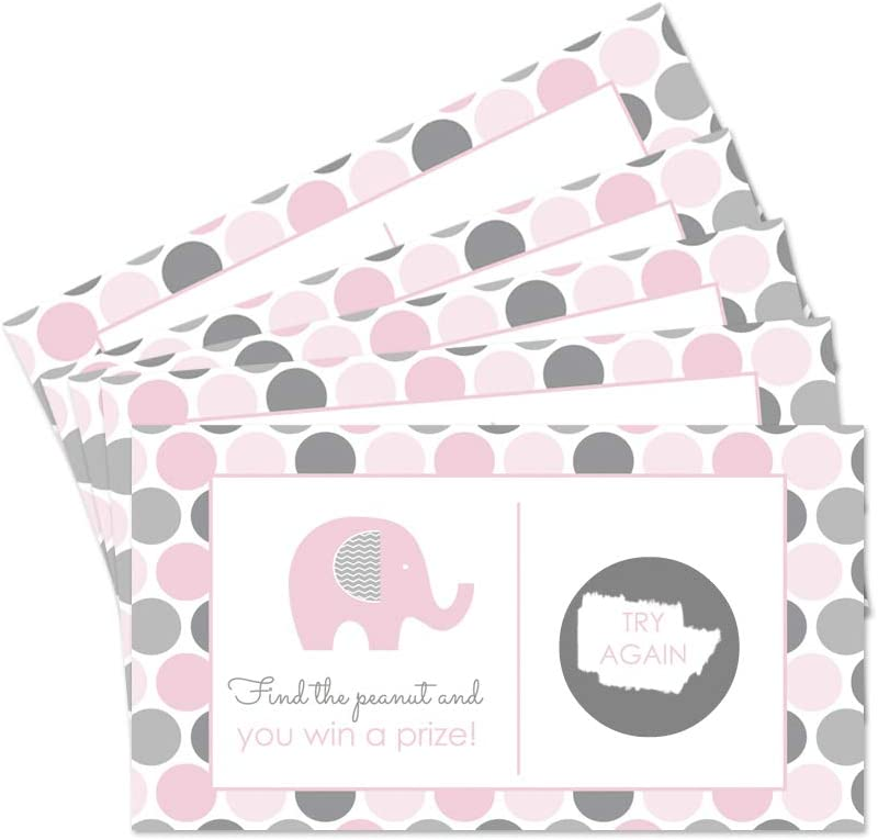 Baby Shower Game Pink Baby Elephant Baby Shower Scratch Off Game Cards