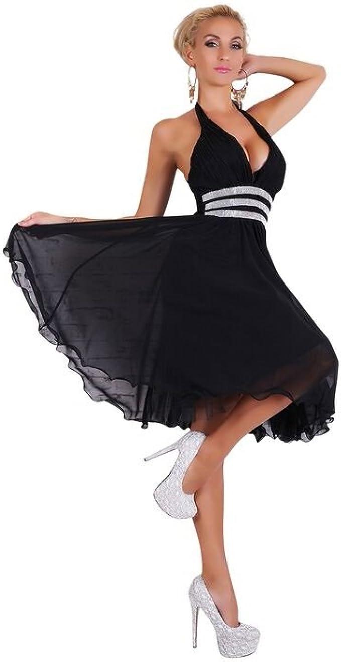 Fashion Neckholder Abendkleid mit Strass Abiballkleid Cocktailkleid Chiffon  Petticoat Kleid