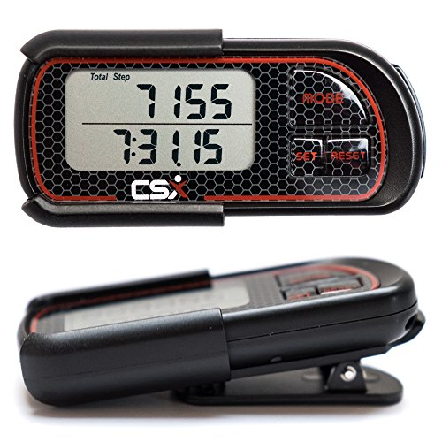 CSX P375 3D Digital Pedometer with Clip and Lanyard, includes Ebook, Accurate Step Calorie Counter, 30 Day Memory, Distance Miles/km, Daily Target Monitor, Exercise Time