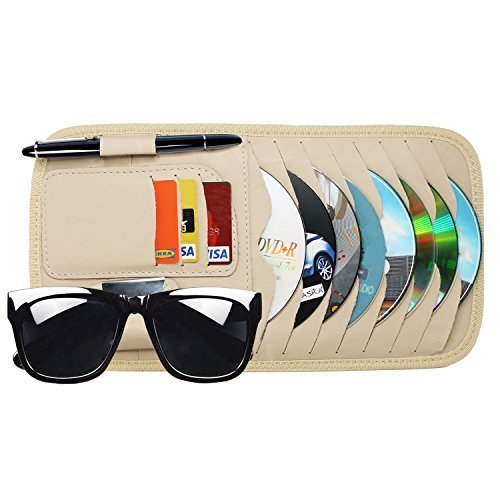 Vulcan-x CD Sun Visor Organizer Detachable Portable PU Leather with 8 CD Slots + 3 Credit Cards Pockets + 1 Sunglasses Holder + 1 Pen - Autumn Sunglasses