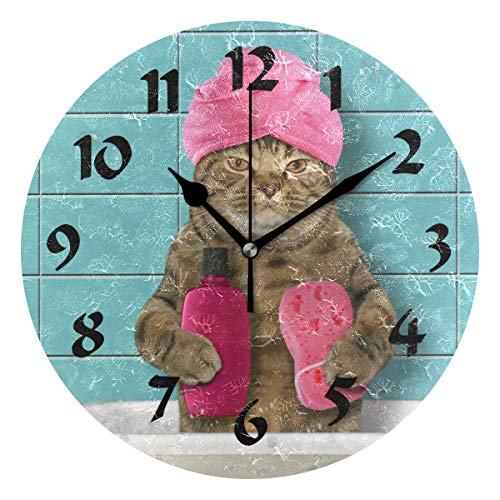 Round Bathing Cat Wall Clock Silent Non Ticking Battery Operated Decorative for Kitchen Living Room Bedroom ()