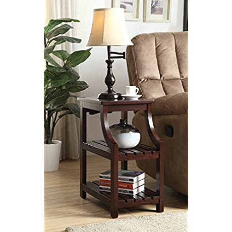 Cappuccino Finish Wooden Chair Side End Table 3 Tier Shelf With USB Ports