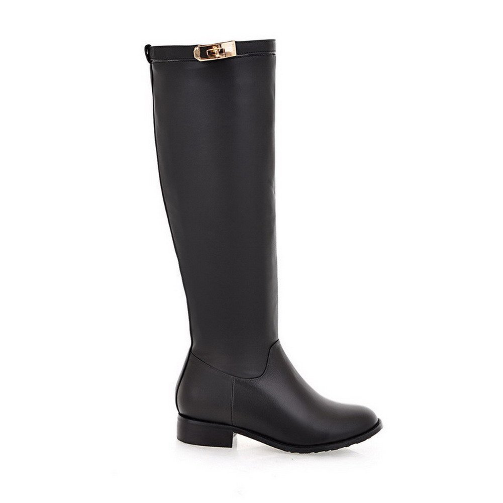 AllhqFashion Women's Round Pull-on Round Women's Closed Toe Low-Heels Artificial Cow Leather Solid Boots B01LL4TGS0 Boots 17f70b