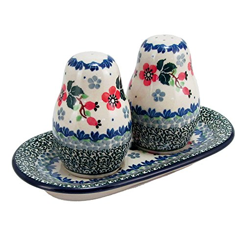 Polish Pottery 3 Piece Salt And Pepper Set With Serving Tray Handmade From Boleslawiec Poland Ceramika Artystyczna Traditional Series Stoneware Patter…