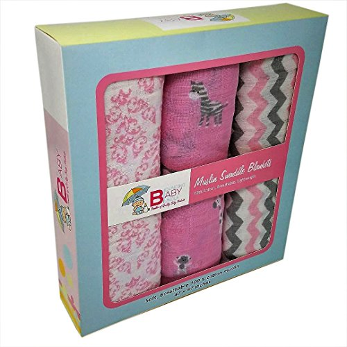 Muslin Swaddle Blankets - Set of 3 Super Soft 100% Cotton Receiving Blankets - By Bouncing Baby Bundle - Extra Large Girls Pink Classic Multi-use for Nursing Cover Stroller Cover or Burp Cloth (Bundle Pink Baby)