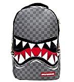 Sprayground Sharks in Paris Deluxe Backpack - Checkered Design (Grey)
