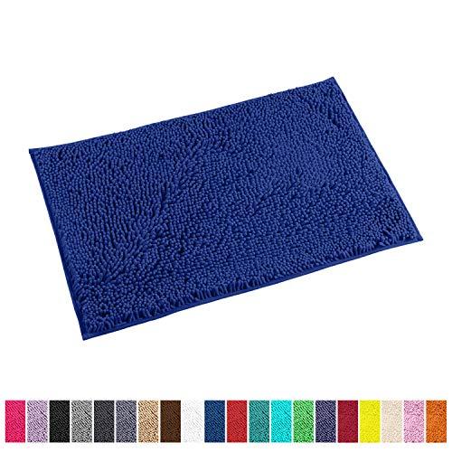 LuxUrux Bathroom Rug Mat -Extra-Soft Plush Bath Shower Bathroom Rug,1 Chenille Microfiber Material, Super Absorbent Shaggy Bedroom Carpet. Machine Wash & Dry (20 x 30, Blue)