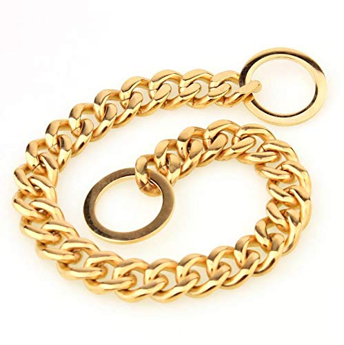 316L Stainless Steel P Chain Titanium Steel Noble Dog Necklace Mirror Polished pet Training Hyena Traction Special 15mm Gold (30 ()
