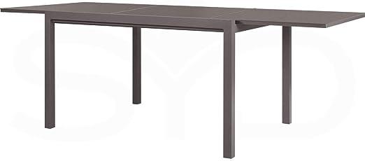 ArtAluminio Mesa de Comedor Extensible. Aluminio de Exterior Primera Calidad y Cristal Templado Arce 150/225x100x74cm: Amazon.es: Jardín