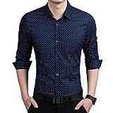 aoliaoyudongyongpin Fashion Men Slim Fit Long Sleeve Shirt Polka Dot Casual Business Shirt Tops Plus Size 5XL FS99