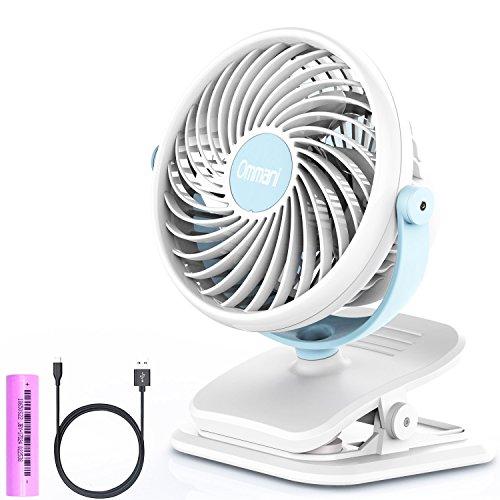 Ommani Clip on Fan, USB or 2600mAh Rechargeable Battery Operated Fan Small...