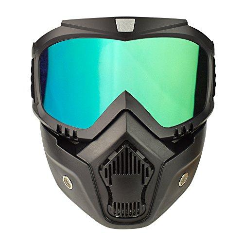 Motorcycle Goggles Mask Detachable, Vintage Open Face Helmet Mask Detachable Sunglasses Protect Padding Ski Motocross Goggles Harley Helmet Sunglasses, Road Riding UV Motorbike Glasses - Hard Mask