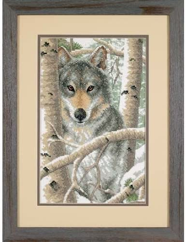 2021new shipping free Dimensions 'Wintry Wolf' Stamped Cross Stitch W Kit 14'' x 9'' Gifts