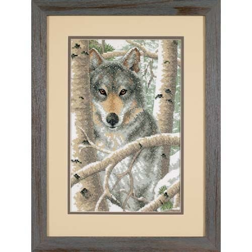 Dimensions 'Wintry Wolf' Stamped Cross Stitch Kit, 9'' W x 14'' - Cross Stamped Stitch Dimensions