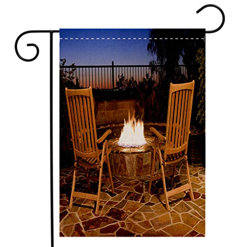 BEIVIVI Custom Double Sided Seasonal Garden Flag Fire Pit Back Yard Outdoor Seating Fire Sunset View Luxury Garden Flag Waterproof for Party Holiday Home Garden Decor ()