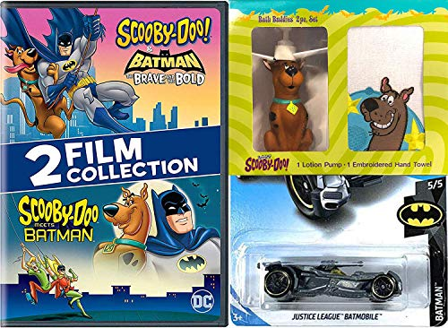Gang Scooby Mystery Inc. Batman Cartoon Solving Crew Scooby-Doo Meets Batman DVD animated pack & Brave and the Bold + Scooby Figure Bath Pump Towel + Justice League Batmobile Hot Wheels Car -