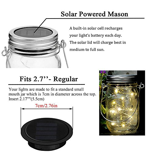 Miaro 6 Pack Mason Jar Lights, 10 LED Solar Warm White Fairy String Lights Lids Insert for Garden Deck Patio Party Wedding Christmas Decorative Lighting Fit for Regular Mouth Jars with Hangers by Miaro (Image #2)'