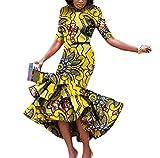 Abetteric Women's Mermaid Short Sleeve Africa Dashiki Batik Waist Long Dress Khaki L