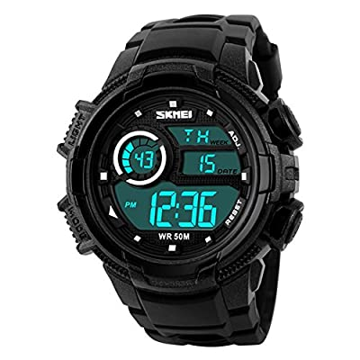 Aposon Mens Digital Outdoor Electronic Waterproof Wrist Sport Watch with Shock Resist LED Display 164ft 50M 5ATM Water Resistant Multifunctional Calendar Date and Day LED Back Light Alarm - Black