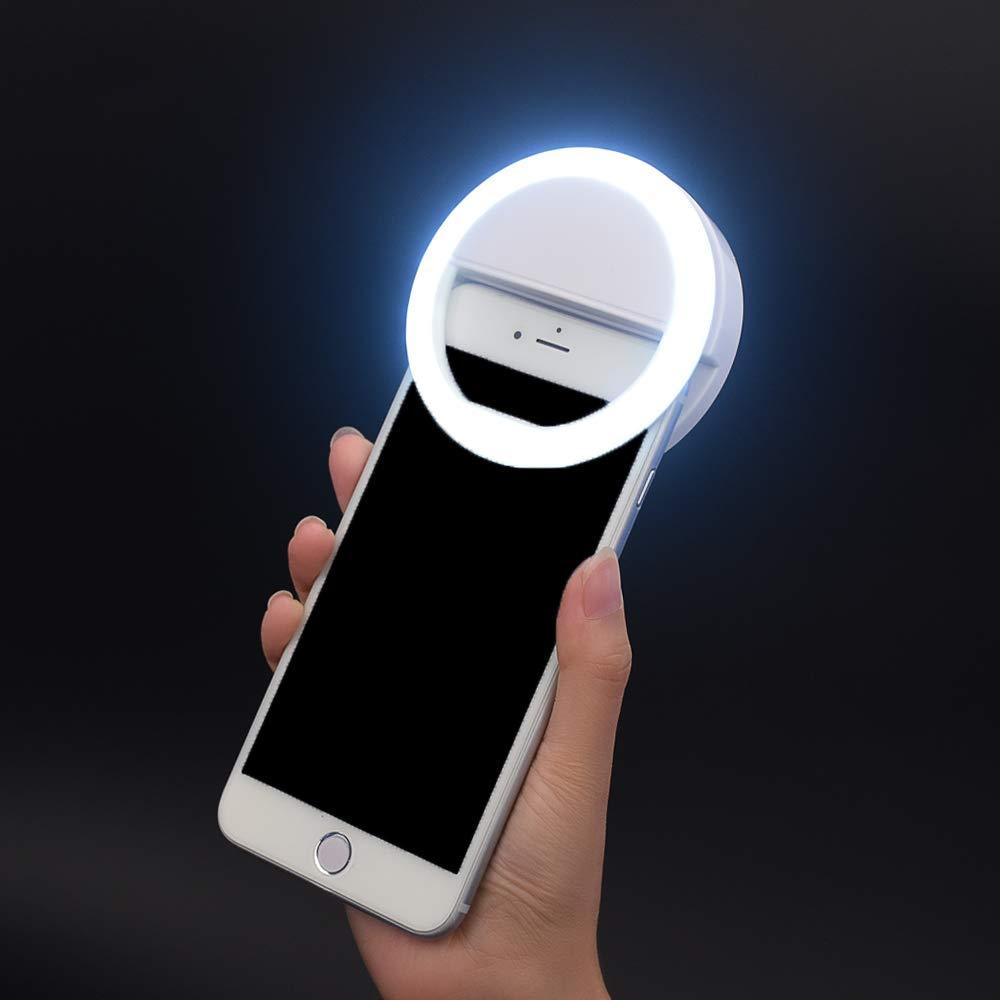 Selfie Ring Light,Hongdayi Clip On Selfie Light for Phone Camera 3-Level Brightness Mini Selfie LED Camera Light for iPhone,iPad,Sumsung Galaxy,Sony, Motorola,Smart Phones,Photography,Video (White)