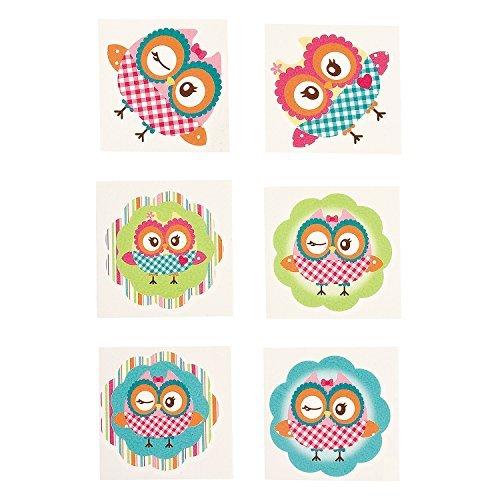 Owl Party Temporary Tattoos - 72 pcs -