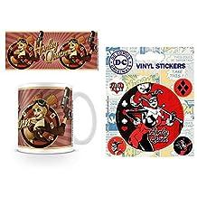Set: Harley Quinn, DC Comics Bombshells Photo Coffee Mug (4x3 inches) And 1 Harley Quinn, Sticker Adhesive Decal (5x4 inches)