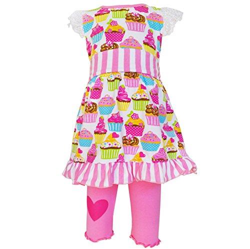 AnnLoren Little Girls sz 6 /6X Original Cupcake Dress and Legging Capri Outfit