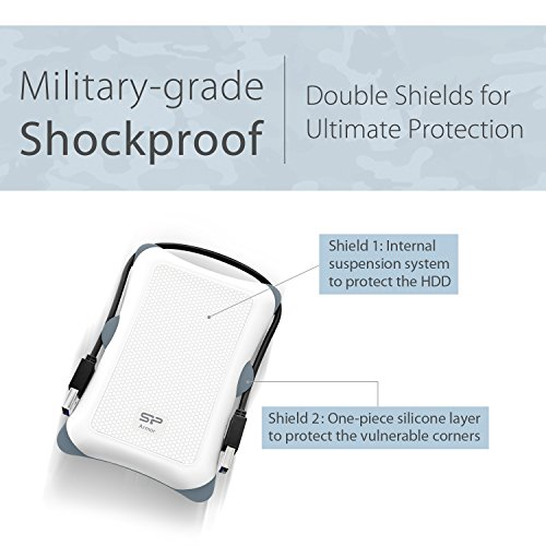 Silicon Power 2TB Rugged Armor A30 Military Grade Shockproof USB 3.0 2.5 Inch for PC,  PS4 Pro and PS4 Slim, White by Silicon Power (Image #3)