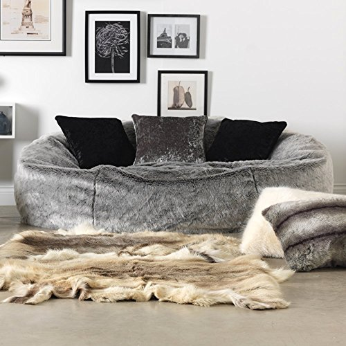 ICON Kenai Cloud – Luxury Extra Large Soft Faux Fur Bean Bag Chair for Two People - Giant Furry Beanbag Love Seat Sofa – Two-Seater Bean Bags – Grey...