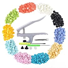 300 Sets 15-Color T5 Snap Press Pliers Plastic Snaps Starter Pack No-Sew Buttons with Snap Press Pliers Hand Setter Tool Punching Tool for Cloth Diapers, Bibs, Embroidery