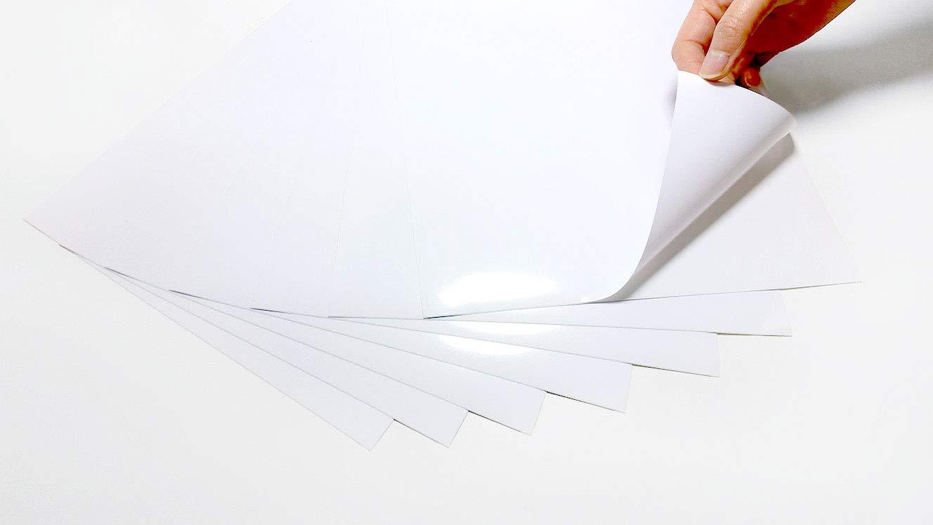 Lot de 20 feuilles de vinyle A4 imprimables au laser (ne convient pas pour les imprimantes jet d'encre) Blanc brillant autocollant de qualité